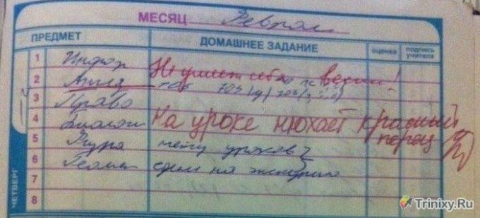 Эти записи в школьных дневниках рассмешат кого угодно