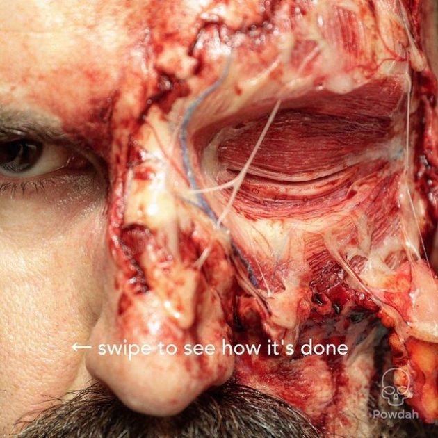 Пугающе реалистичный грим для одного из фильмов ужасов. Фото