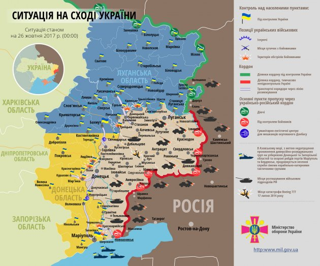 За минувшие сутки в зоне АТО боевики 20 раз нарушили перемирие