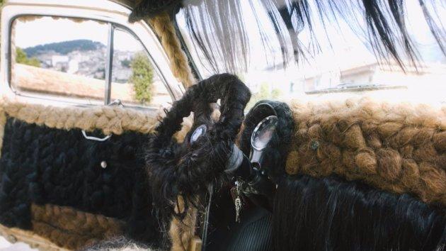 Парикмахер «украсила» свой автомобиль женскими локонами. Видео