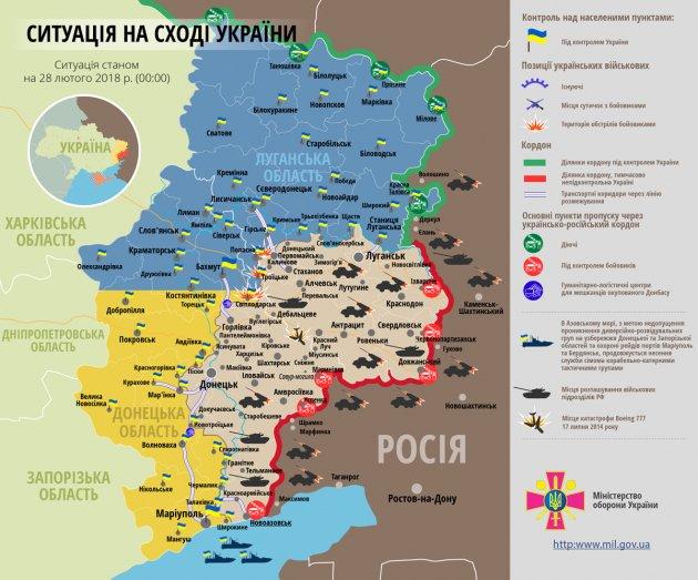 За минувшие сутки в зоне АТО боевики пять раз нарушили перемирие