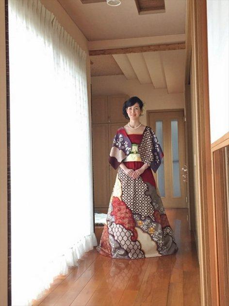 Японские свадебные платья в стиле традиционных кимоно. Фото