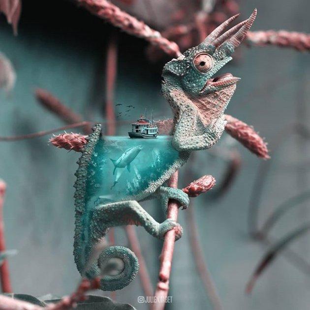 Сюрреалистичные животные глазами молодого художника. Фото