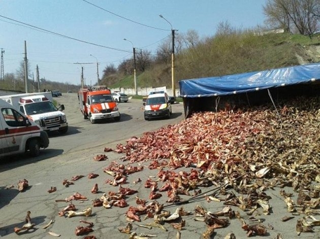 В Лисичанске грузовик с костями врезался в маршрутку