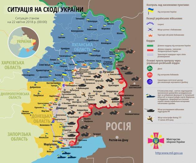 За минувшие сутки в зоне АТО боевики 30 обстрелов позиций ВСУ