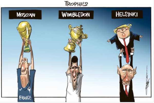 Встречу Путина и Трампа ярко изобразили карикатурами